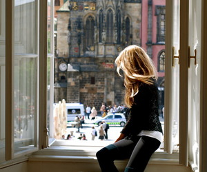 girl, window, and city image