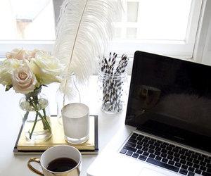 coffee, flowers, and mac image