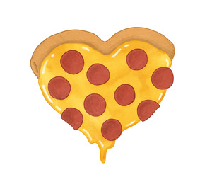 pizza, heart, and food image