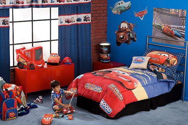 Bedroom The Exciting Design Of Race Car Bedroom Decor With Blue Wall Decoration With Accessories Of Race Car Wallpaper Also With Blue Curtain On Glass Window Nd Red Blue Quilt Bed The