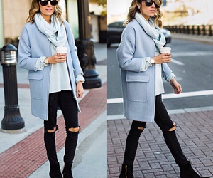 blue, coat, and ootd image