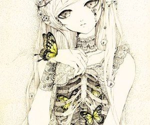 butterfly, drawing, and bones image