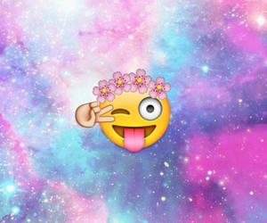 emoji, flowers, and galaxy image