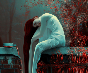 aqua, art, and red image