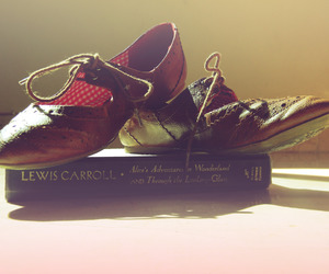 alice in wonderland, book, and oxfords image