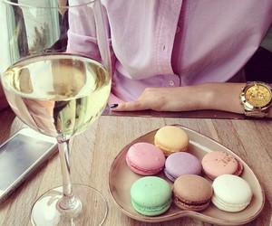 food, wine, and macarons image