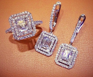 diamond, ring, and earrings image