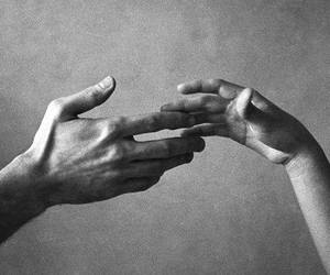 bw, hands, and love image