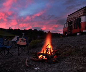 fire, guitar, and sky image