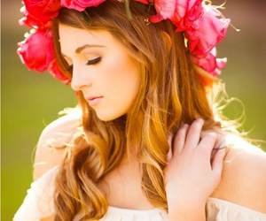 flowers, girl, and flower crown image