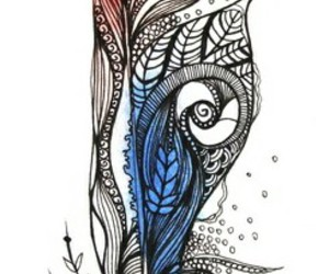 blue, drawing, and feathers image