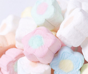 marshmallow, flowers, and yummy image