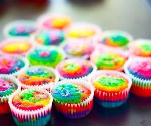 cupcake, food, and rainbow image
