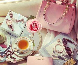 pink, bag, and tea image