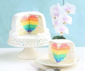 cake, rainbow, and heart image