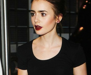 lily collins, black, and lily image