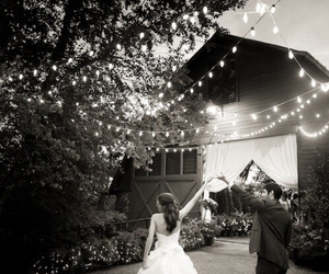 wedding, black and white, and dress image
