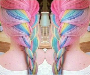 blue, pink, and hair image