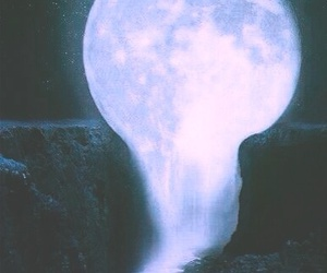 moon, night, and waterfall image