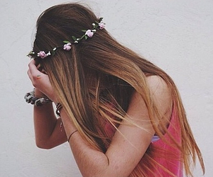 beautiful, flower crown, and grunge image
