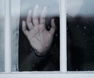 window, hand, and rain image