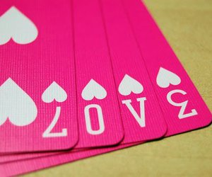 love, pink, and cards image