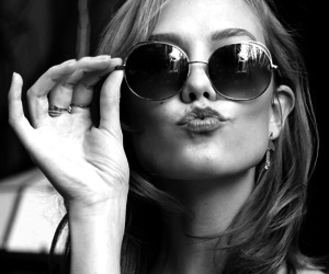sunglasses, black and white, and lips image