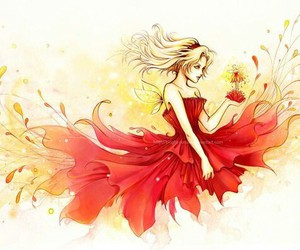 red, art, and fairy image