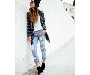 beanie, boyfriend jeans, and flannel image
