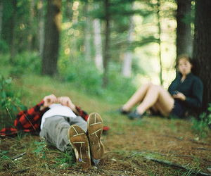 boy, forest, and friends image