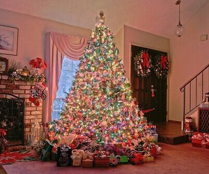 christmas, light, and christmas tree image