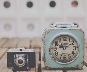 vintage, camera, and clock image