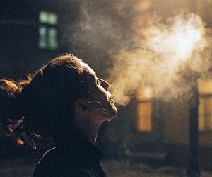 girl, smoke, and night image