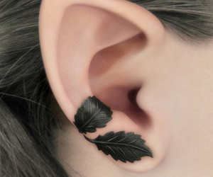 leaves, ear, and earrings image