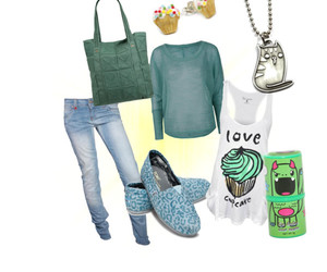 cat, clothes, and cupcake image