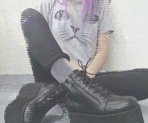 grunge, cat, and black image