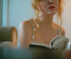 blonde, book, and lips image