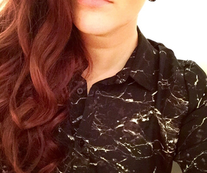brown hair, curly hair, and lips image