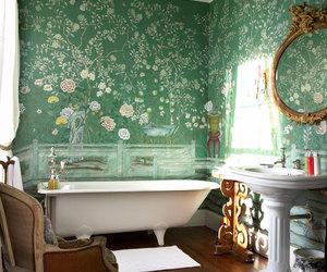 bathroom, green, and vintage image