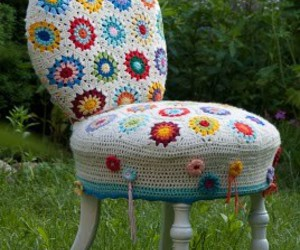 chair, cottage, and crochet image