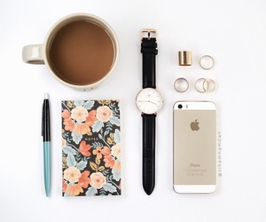 coffee, iphone, and watch image