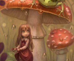 frog, girl, and mushroom image