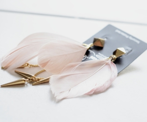 earrings, feather, and pink image