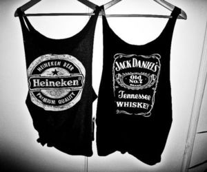 heineken, jack daniels, and black and white image