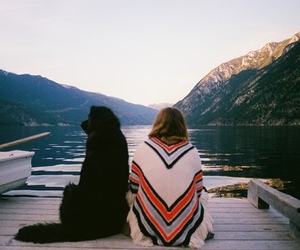 dog, nature, and girl image