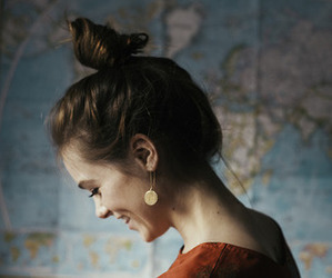 girl, happy, and map image