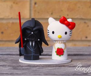 cake topper, darth vader, and hello kitty image