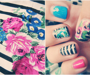 colors, flowers, and nails image