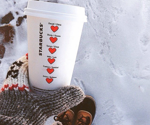 heart, snow, and starbucks image