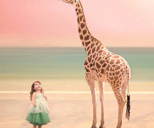girl, giraffe, and beach image